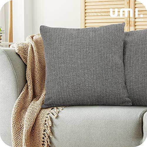 Amazon Brand - Umi Confezione da 2 Fodere per Cuscino Decorativo Quadrato Copricuscino con Chiusura Lampo per Divano Letto 45x45cm Grigio Scuro