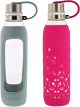 Contigo Purity Glass Water Bottle - Protective Silicone Sleeve and Tethered Lid Included - Tasteless and Odorless Drinking - 100% BPA-Free - 20-Ounce, 2 Pack, Sea Glass and Very Berry