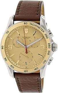 ساعت مچی چرمی شماره گیر طلایی کلاسیک مردانه Victorinox Swiss Chronograph 241659.1