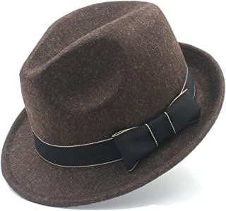 SGJFZD for Gentleman Sombrero Trilby Church Derby Cloche Top Cap with Fashion Leather Pure Wool Women Men Chapeau Femme Fedora Hat (Color : Coffee, Size : 57-58cm)