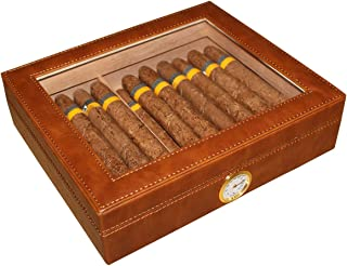 AMANCY Handcrafted Glasstop Brown Leather Wrapped 20-25 Cigar Humidor with Cedar Wood Lined