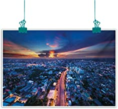 Mdxizc Wall Art Decor Poster Painting Urban Bangkok Skyline at Sunset Evening Thailand Cityscape Metropolis Architectural Photo Home and Everything W28 xL20 Blue Coral