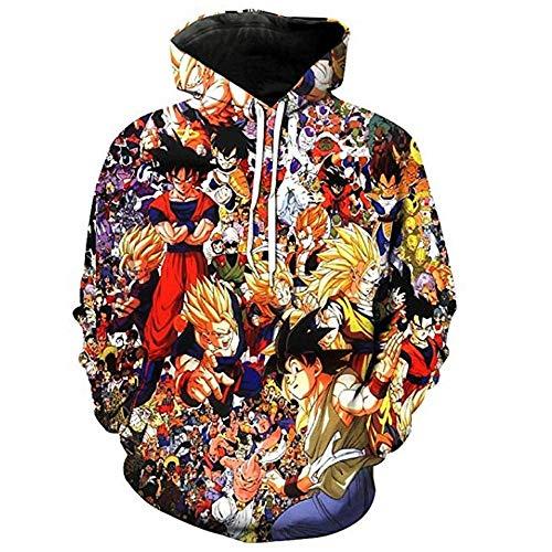 Sudadera con Capucha Mujer/Hombre Sudaderas con Capucha Informales Impresas En 3D Hombres Divertido Dragon Ball Z Goku Sudadera con Capucha Streetwear Pullover Tops-Lw039_M