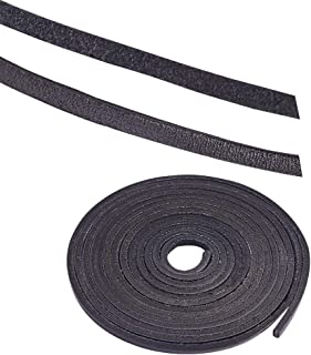 PandaHall Elite 1 Strand 3mm Flat Genuine Cowhide Leather Lace Cord Braiding String Leather Strips 2.2 Yard for Jewelry Making Black