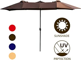 LOKATSE HOME Double-Sided Market Patio Outdoor Umbrella 15 Feet Garden Aluminum Twin Sun Canopy with Crank, 2 Middle Brown