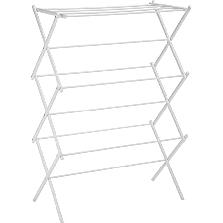 Magna Homewares Accordion Steel Foldable Cloth Drying Stand/Clothes Dryer Stands/Laundry Racks/Cloth Drying Hanger for Balcony/Indoor/Outdoor-Royal White