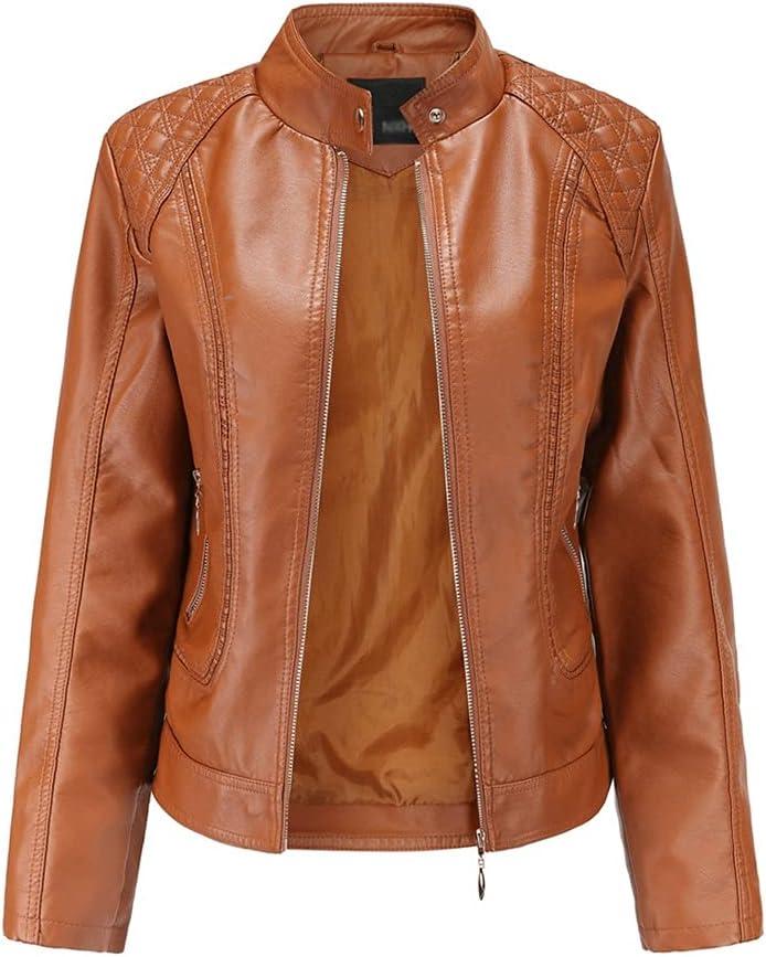 ZSQAW Leather Jacket Women Zippers Spring Autumn Women's PU Leather Jacket Mandarin Collar Red Motor Biker Coat Female Oversized (Color : Brown, Size : 2XL Code)