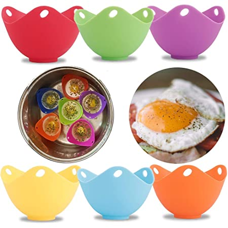 4pcs Silicone Egg Poacher Non-Stick Silicone Poached Eggs Cups,BPA Free Kitchen Cookware Tools Egg Mold Bowl Microwave Egg Poacher Mixed-4 Pack