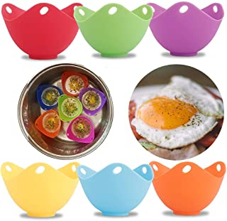 Amabest 6pcs Egg Poacher with Stand FDA Mini Silicone Egg Cooker Egg Cups Egg Accessories No BPA Silicone Bowl Egg Poacher Maker, for Microwave, Egg Poacher Pan, Egg Poachers Cookware, Stovetop