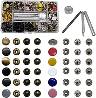 12.5 mm Snap Fastener Kit 12 Colors 120 Sets Clothing Snaps Metal Solid Snaps Buttons Kit Press Tool for Clothing Sewing a...