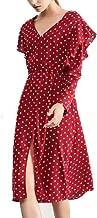 Leomodo Women Vintage Polka Dot Dress Ruffled Long Sleeve V-Neck Dress