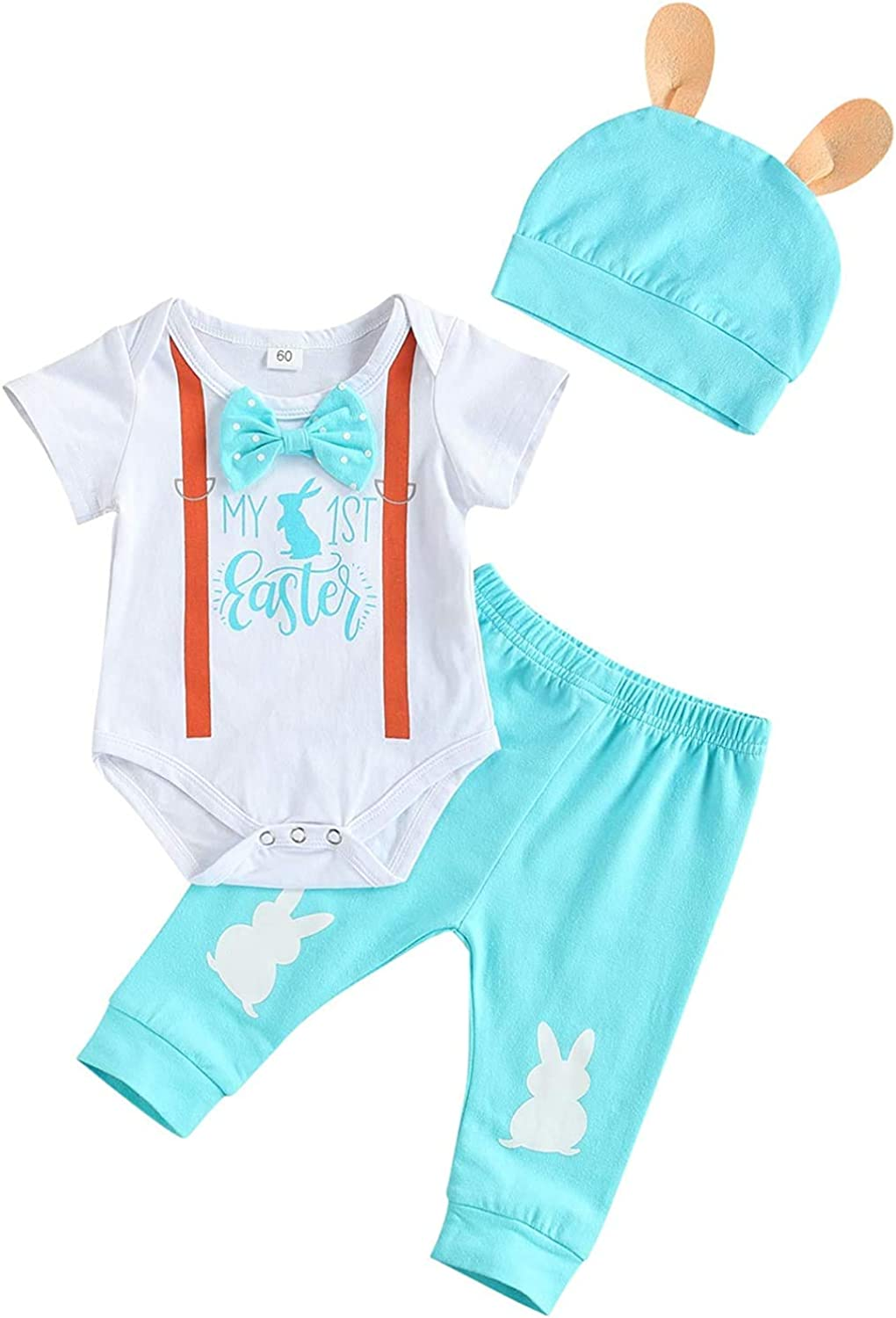 Newborn Baby Boy Easter Outfit Short Sleeve My First Easter Romper Bodysuit Tops Pants Hat 3PCS Bunny Clothes Set