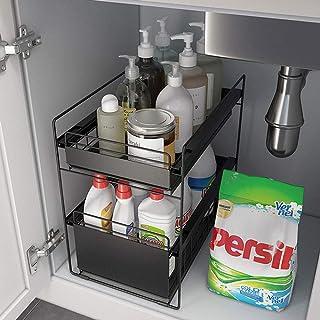 ZYHA Etagère de Rangement sous évier Polyvalent à tiroir Coulissant à 2 Niveaux,Organisateur d'armoire sous évier,pour Sal...