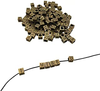 CSPRING 156PCS, 6 Sets of Antique Bronze Metal Alphabet Letter A-Z Cube Loose Beads for Bracelet Necklace Pendant DIY Jewelry Making by
