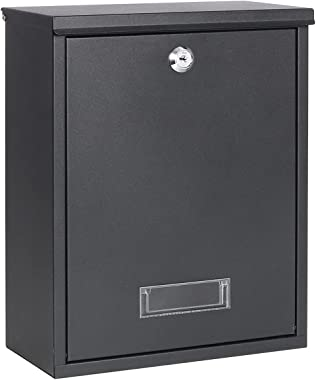 Locking Mailbox Wall Mount Key Lock Drop Box Large Capacity with Galvanized Steel Cover and Rust-Proof Metal Post Box, 12.6 x
