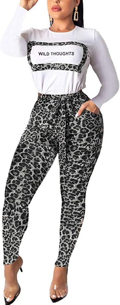 Women's 2 Piece Outfits Letter Long Sleeve Pullover Top Skinny Leopard Print Long Pants Bodycon Tracksuit Set