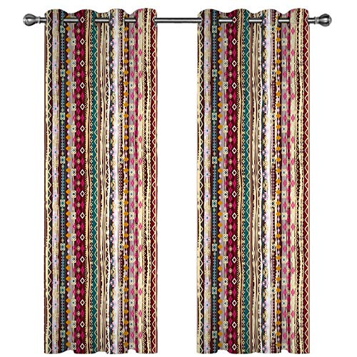MENGBB Blackout Curtain for Kids Girls Microfiber 90x71 inch Ethnic pattern Thermal Insulated 95% Blackout Kitchen Bedroom Living Room Window Eyelet Curtains