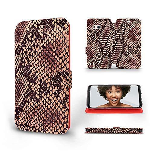 Mobiwear   Slim FLIP Hülle   Kompatibel mit HTC U11, Made in EU handyhülle, Premium Schutzhülle, Transparent TPU Silicon, Book Style Hülle, Tasche - Python