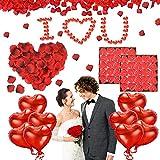 Punvot Kit Romántico de Velas y Pétalos, Kit de Decoración para Bodas, 1000 Piezas Pétalos de Rosa + 50 Rojo Velas en Forma de Corazón + 10 Foil Globos Corazón, Rojo Decoración para Bodas, Compromiso