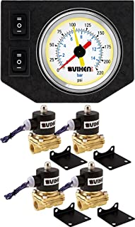 Vixen Air 1/2 NPT Electric Air Valve (Solenoid) 210PSI 12V (4-Pack) with 1 Dual Needle Gauge/2 Switch Dash Panel Kit White VXF1G2012W