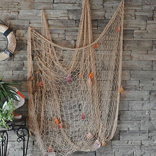 Whitelotous Decorative Natural Fishing Net Seaside Wall Beach Party Sea Shell Fishnet Decor