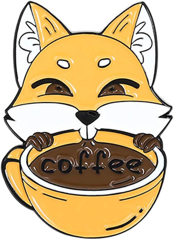 Tennessee526 Max 61% Max 81% OFF OFF Cartoon Animal Fox Drink Newspaper Enamel Coffee Br