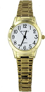 Women Gold Tone Stretch Band Easy to Read Watch