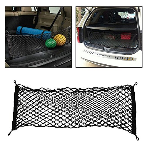 JTDEAL Car Trunk Storage Net, Flexible Elastic Nylon Rear Cargo Organizer, Car Trunk Cargo Luggage Net Holder for Car Van SUV, with 4 Hook
