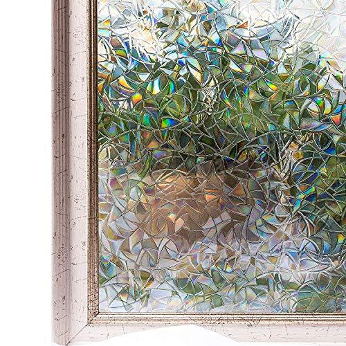 Emmala raamfolie, privacyfolie, glasdecoratiefolie, zelfklevend, ondoorzichtig, zonder lijm, 2 Ft X unicaat 6,5 Ft (60 x 200 cm)