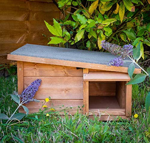 garden mile Hedgehog House & Hibernation Shelter Durable Wooden Predator Proof Outdoor Habitat Feeding Station and Home Felt Roof Cover Full Wood Flooring Garden Hedgehogs Wildlife Outdoor Habitat