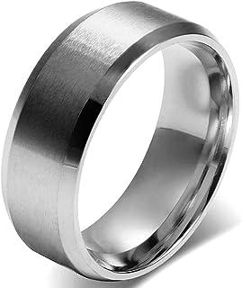 JewelryWe Anello Uomo Donna Unisex, 8mm Anello di Fidanzamento di Nozze Classic, Acciaio Inossidabile Colore Argento, Mecc...
