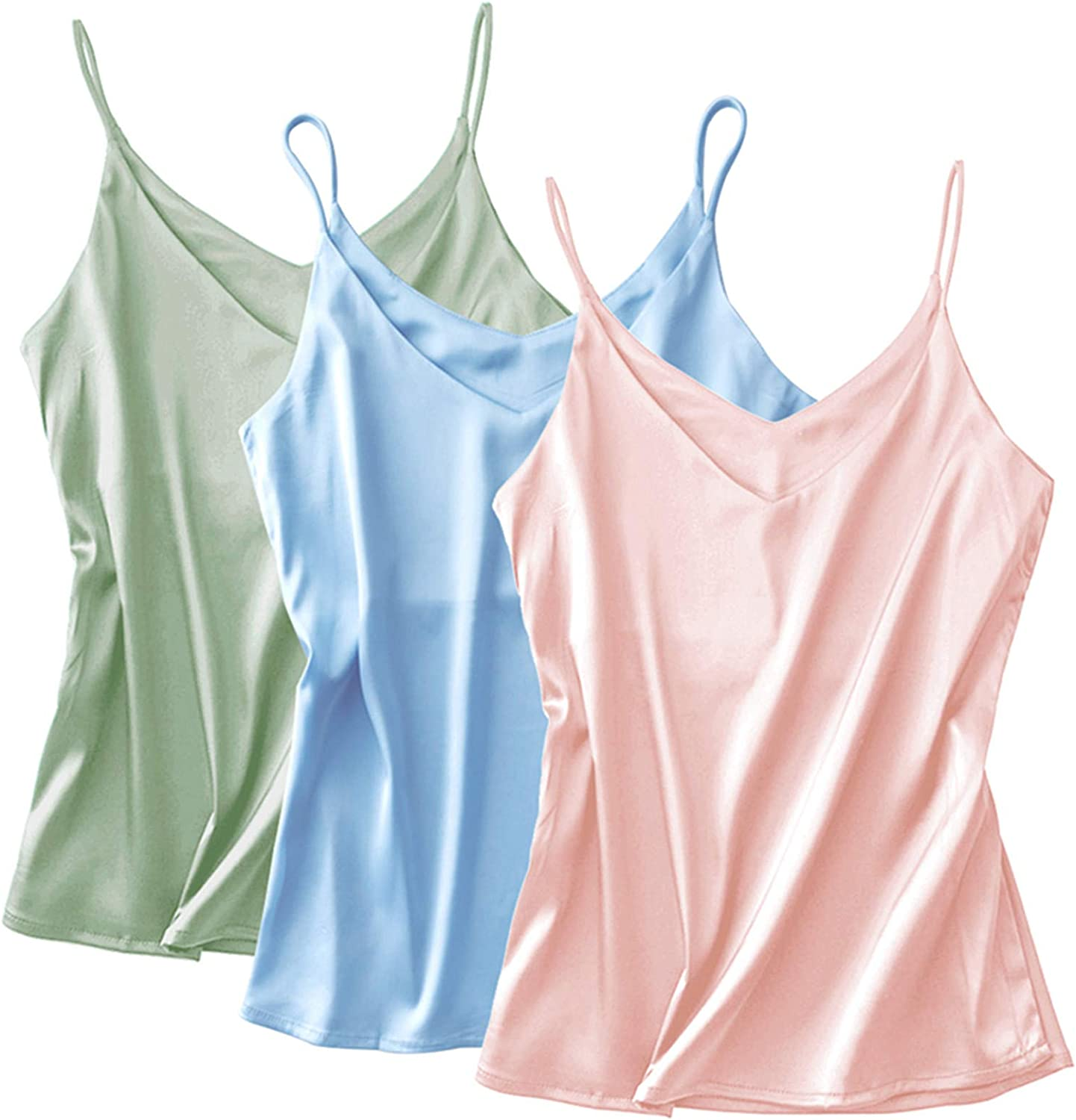Miqieer Basic 3 Sale item Pack Women's OFFicial store Silk Tank Camisol Top Ladies V-Neck