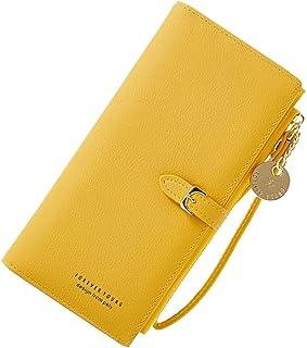 Coopay Damen Geldbörse,Unifarben Groß Kapazität Portemonnaie,Reißverschluss Brieftasche,Geldbeutel mit Handyfach,Frau Clutch Lang,Portmonee Kunstleder,Handygeldbörse mit 11 Kartenfächer - Gelb