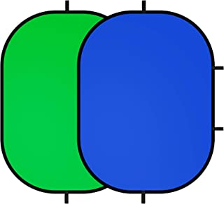 Selens クロマキー背景 100 x 150cm ブルー/グリーン 2-in-1 楕円背景パネル リバーシブル 折り畳み可能 スタジオ背景 スクリーンシート 背景布 写真撮影用