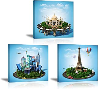 Blue Cartoon Wall Decor Castle on Elephants Wall Art Eiffel Tower Paintings The Statue of Liberty Canvas Prints for Kids Bedroom Home Decoration (Waterproof, Ready to Hang)