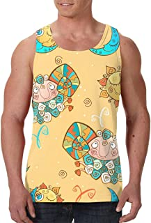 Men's Sleeveless Undershirt Summer Sweat Shirt Beachwear - Hand Drawn Dia De Muertos