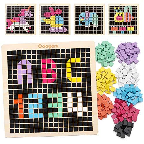 Coogam Rompecabezas de Mosaico de Madera, Bloques de patrón de Forma 370PCS con 8 Colores, Juego de Mesa de píxeles Stem Montessori Juguetes Regalo para niños pequeños niños niños niñas