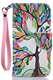 Compatible with iPhone 8 Wallet Case,iPhone 7 Case,iPhone SE 2020 Case,JanCalm [Card/Cash Slots] [Wrist Strap] PU Leather Wallet Cover Flip Cell Phone Cases + Crystal Pen (Beautiful Tree Pattern)