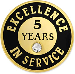 PinMart Gold Plated Excellence in Service 5 Year Award Lapel Pin
