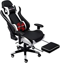 Nokaxus Gaming Chair Large Size High-back Ergonomic Racing Seat with Massager Lumbar Support and Retractible Footrest PU L...