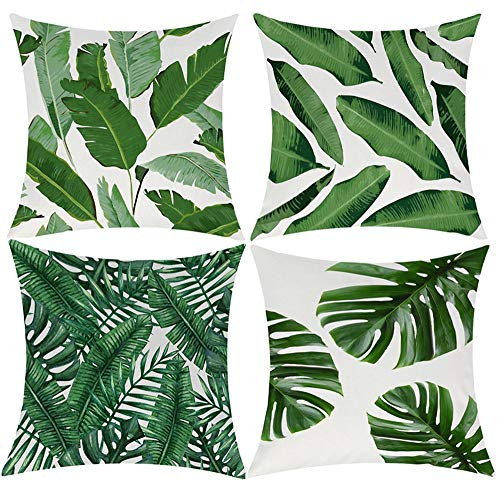 EZVING Pack of 4 Tropical Leaves Throw Pillow Cover Decorative Cotton Linen Burlap Square Outdoor Cushion Cover Pillow Case for Car Sofa Bed Couch 20x20 Inch