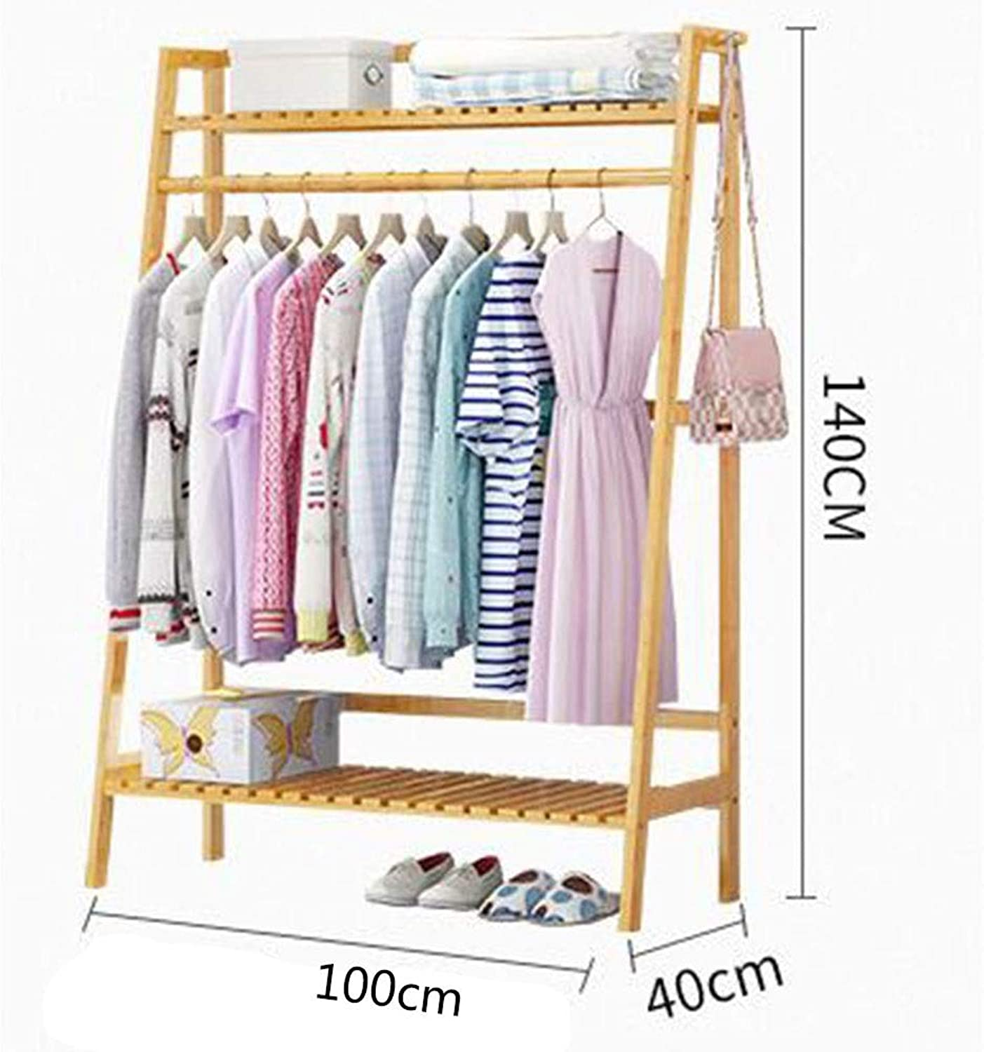 JIAYING Heavy Dut Bamboo Garment Rack,Freestanding Coat Rack with 2-Tier Rack, for Garment, Hats, Scarves and Umbrellas, Indoor and Outdoor Use (Size   100×40×140CM)