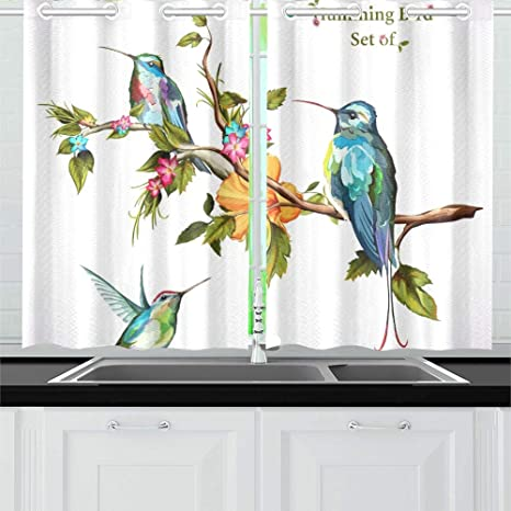 Amazon Com Yumoing Humming Birds Set Three Humming Bird Kitchen Curtains Window Curtain Tiers For Cafe Bath Laundry Living Room Bedroom 26 X 39 Inch 2 Pieces Home Kitchen