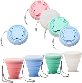 Flysea Collapsible Travel Cup, 4 Pack Silicone Folding Cup with Lids, Expandable Portable Drinking Mug for Camping Outdoor Hiking Picnic - BPA Free, 6.76oz
