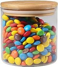 77L Food Storage Jar with Wooden Lid, [Thickened Version] Glass Airtight Seal Food Storage Jar, 17.91 FL OZ (530 ML) Clear...