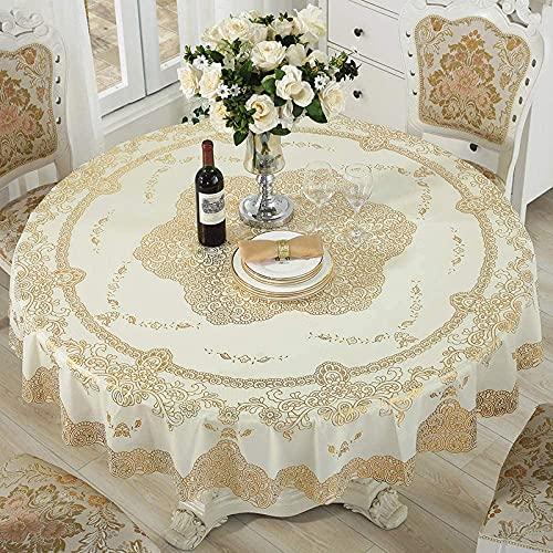 KEYREN Mesa redonda mantel mantel impermeable y libre de aceite desechable pvc redondo mantel de plástico europeo tela hogar nórdico
