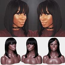 Human Hair Wig With Bangs Short Bob Glueless 130% Density Natural Black Straight Wigs 100% Brazilian Virgin Human Hair Full Machine Made Wigs With Swept Side Bangs (14inch)