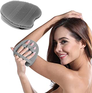 INNERNEED Soft Silicone Body Brush Body Wash Bath Shower Glove Exfoliating Skin SPA Massage Scrubber Cleanser Facial Cleaning (Gray)