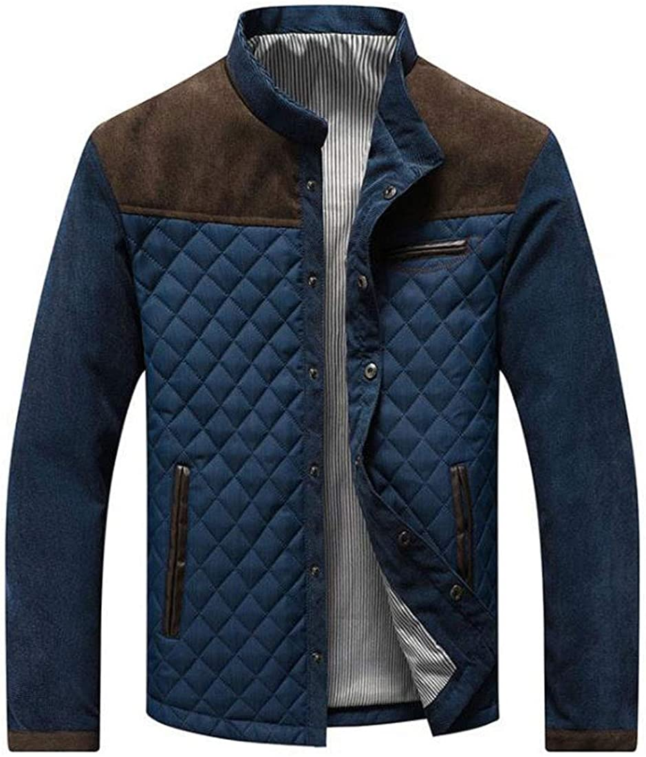 ebossy Men's Contrast Stand Collar Button Down Quilted Jacket