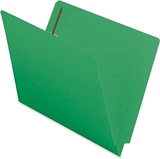 Smead End Tab Fastener File Folder, Shelf-Master Reinforced Straight-Cut Tab, 2 Fasteners, Letter Size, Green, 50 per Box (25140)